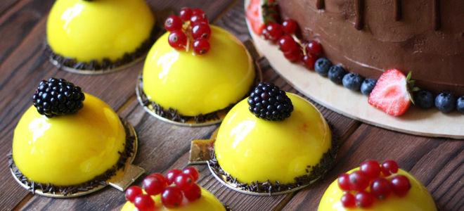 Муссовые пирожные с зеркальной глазурью