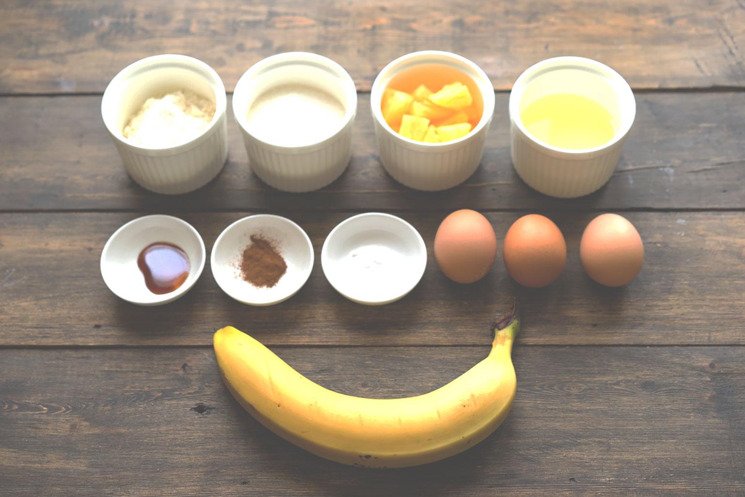Ингредиенты для шоколадно-банановых маффинов
