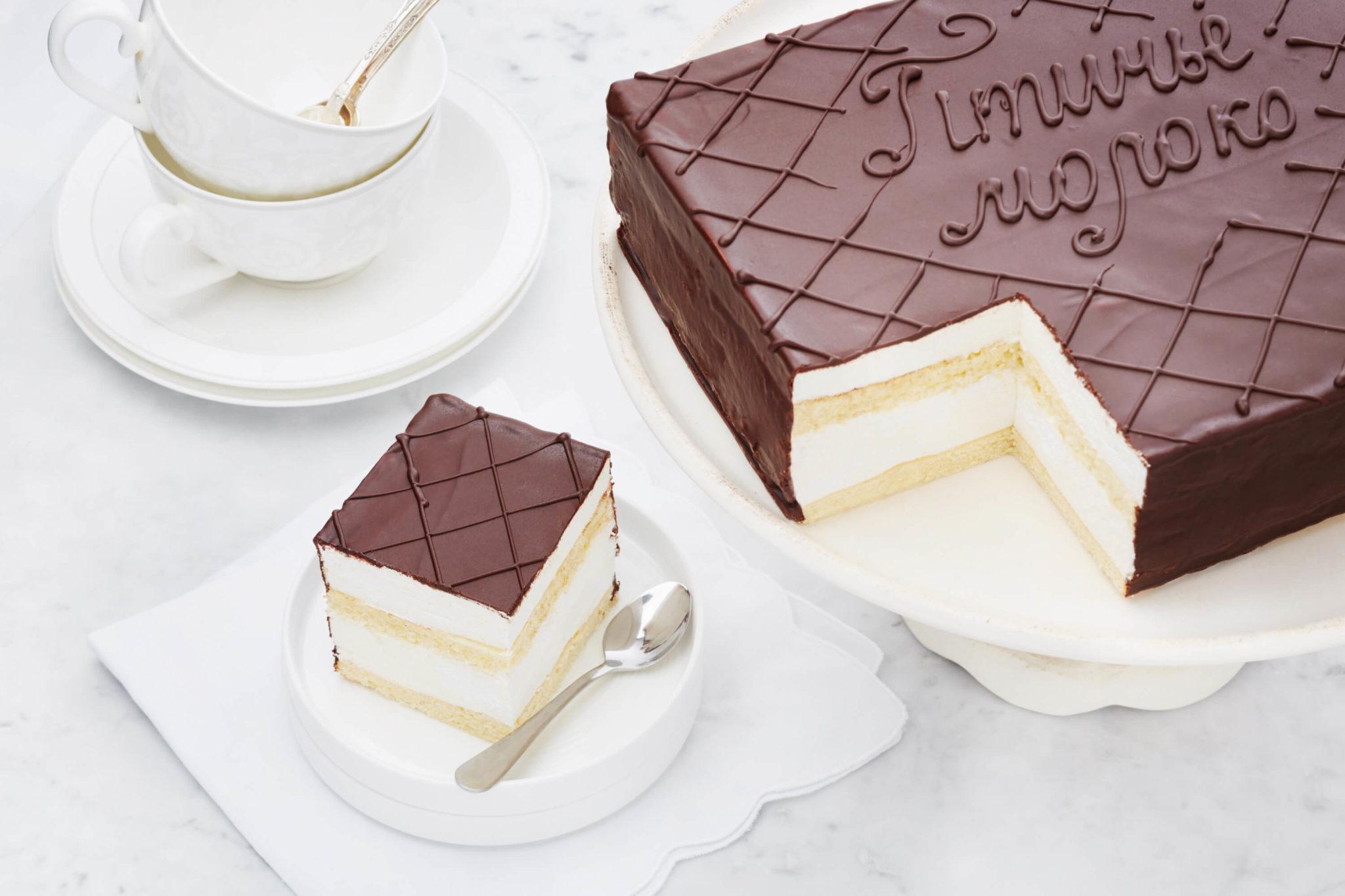 Торт «Птичье молоко» с глазурью