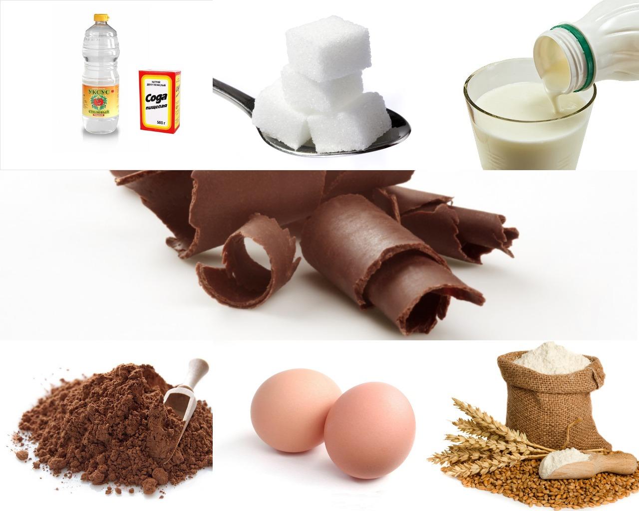 Ингредиенты для шоколадного пирога на кефире с какао