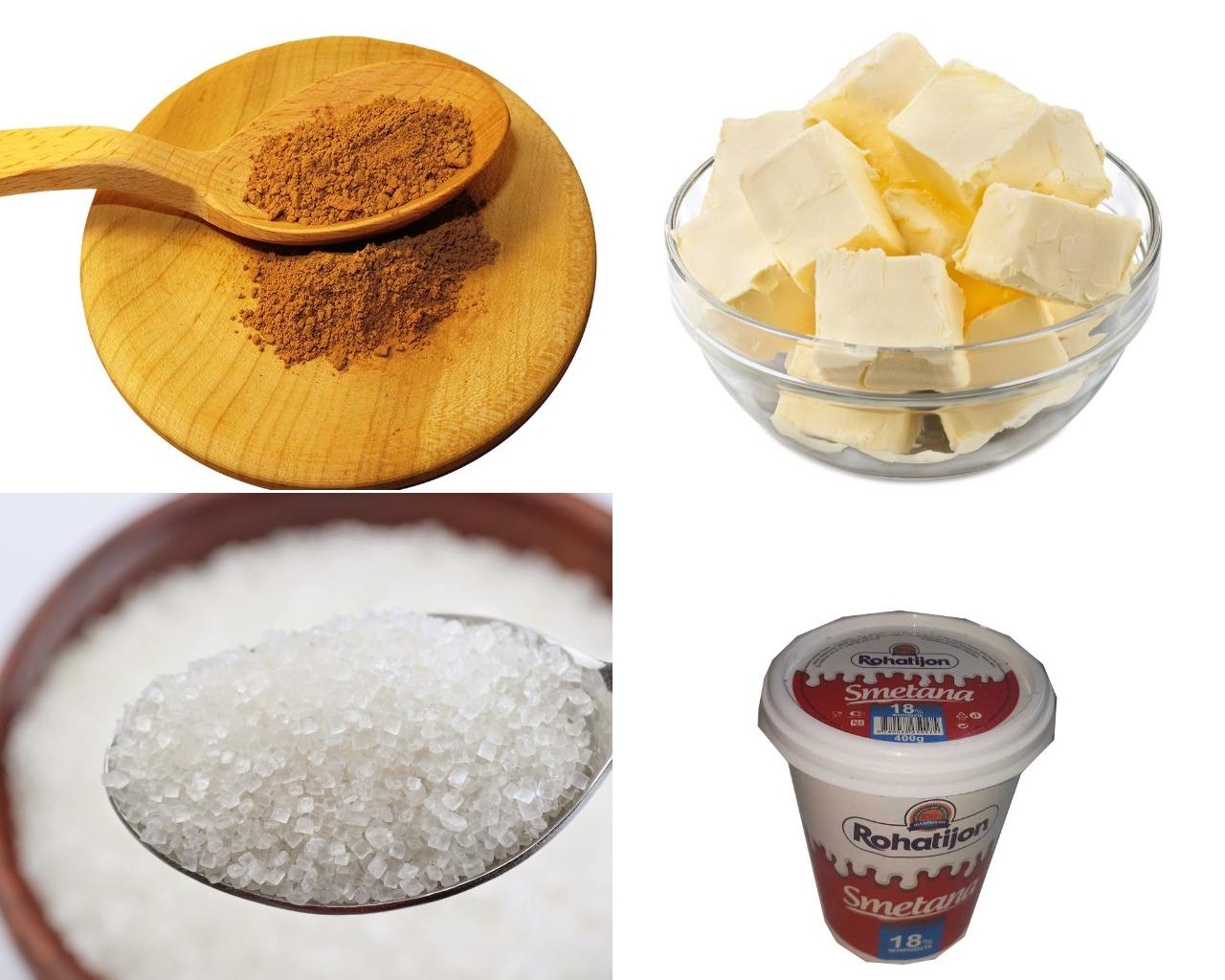 Ингредиенты для шоколадной глазури на сметане