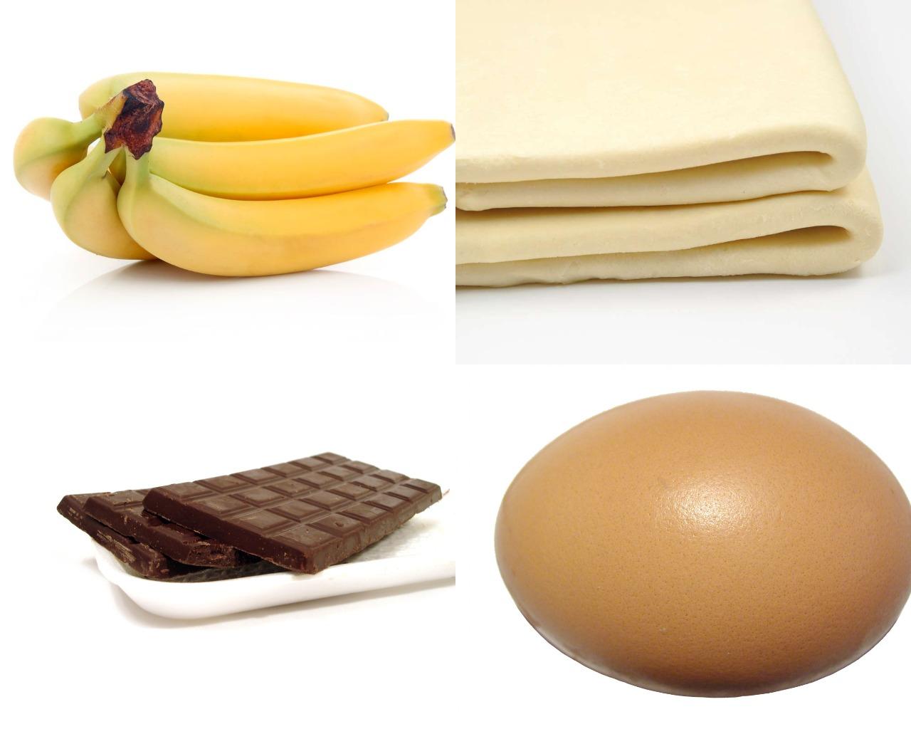 Ингредиенты для слойки с шоколадом и бананом