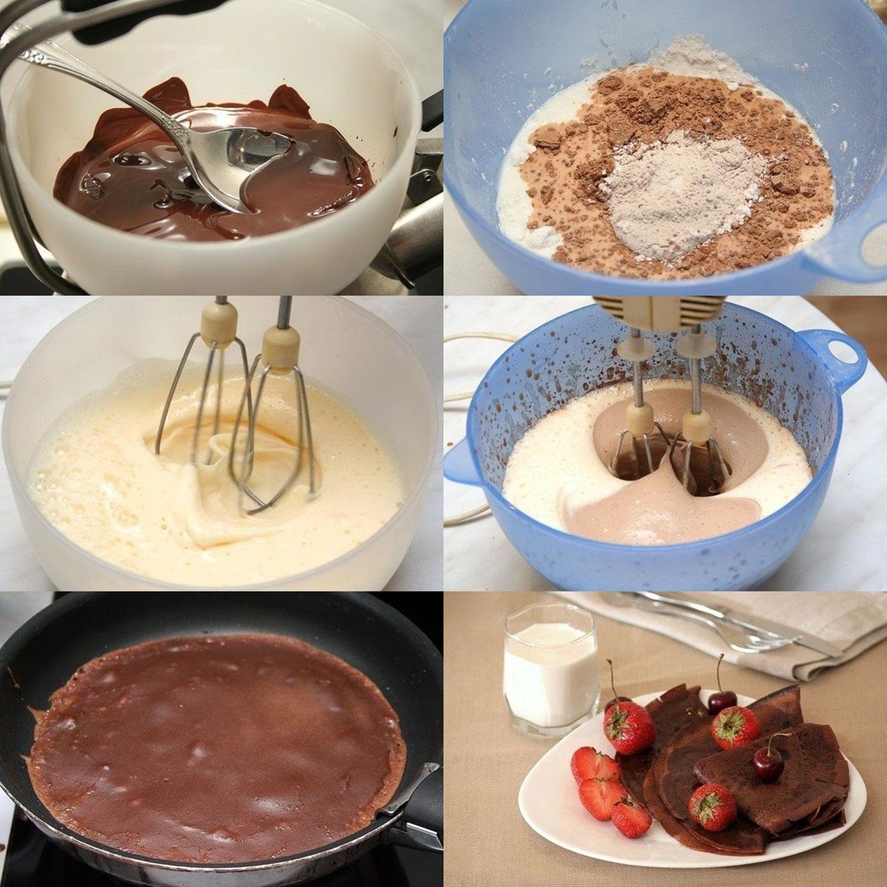 Приготовление шоколадных блинчиков