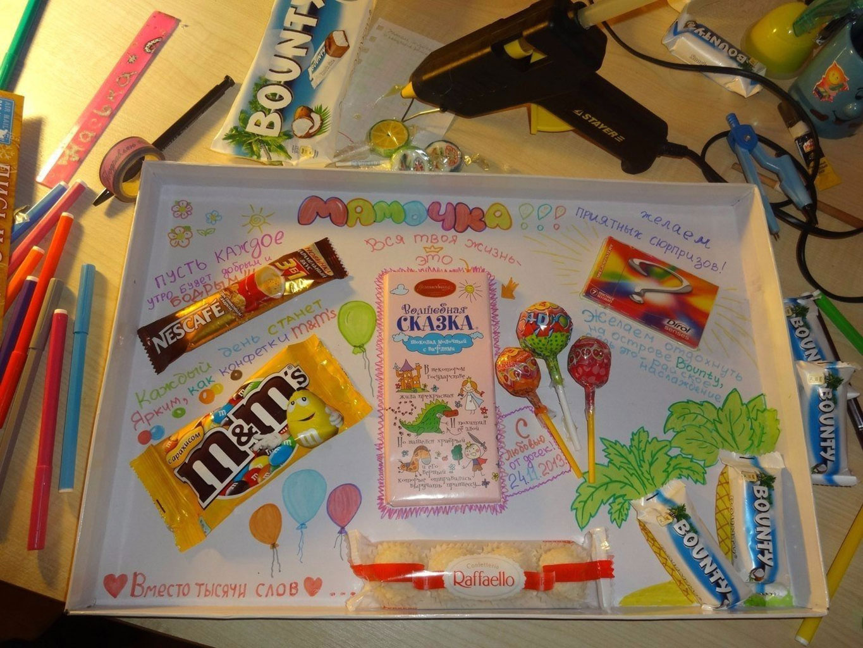 Размещение сладостей на плакате