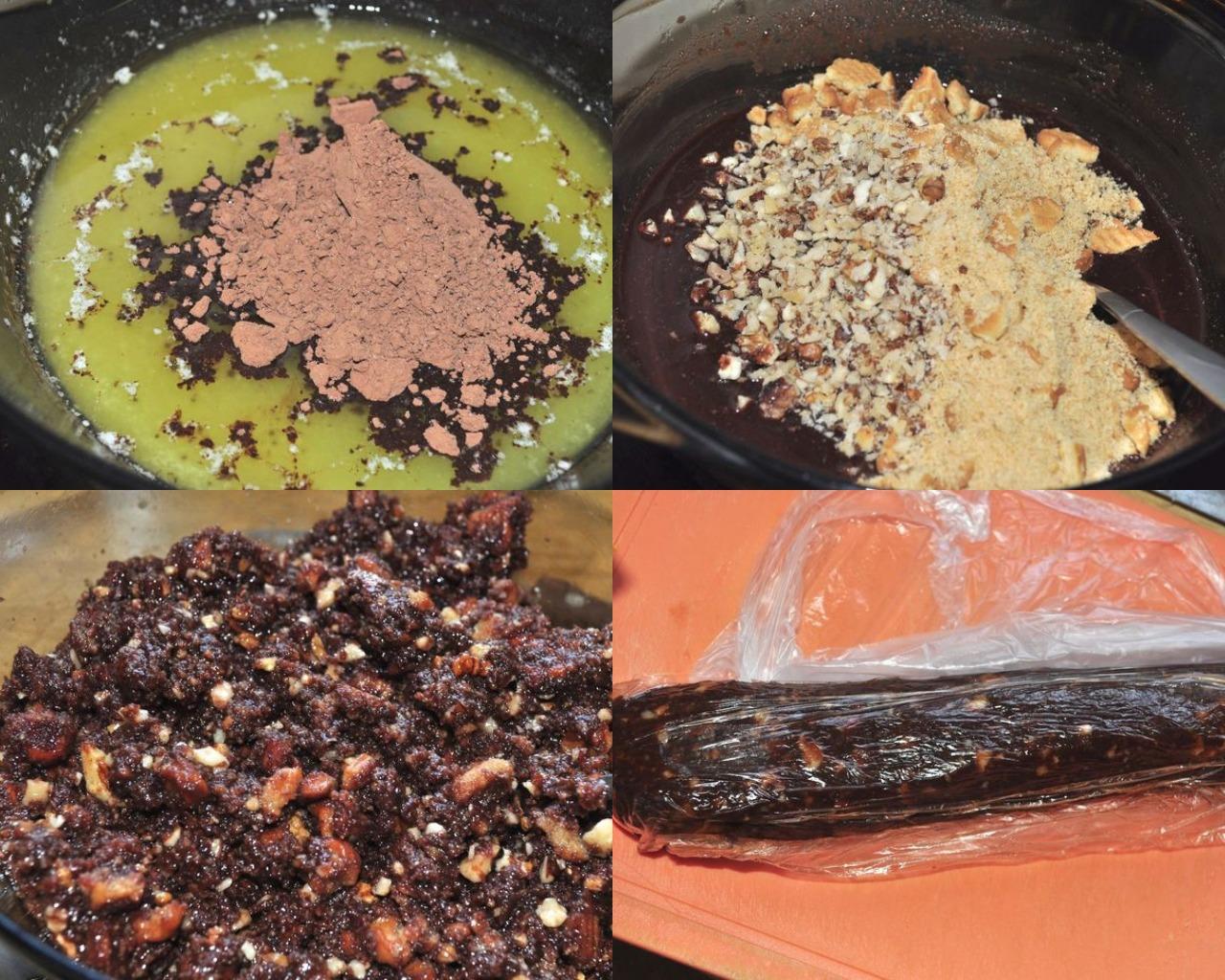 Этапы приготовления шоколадной колбасы с грецкими орехами