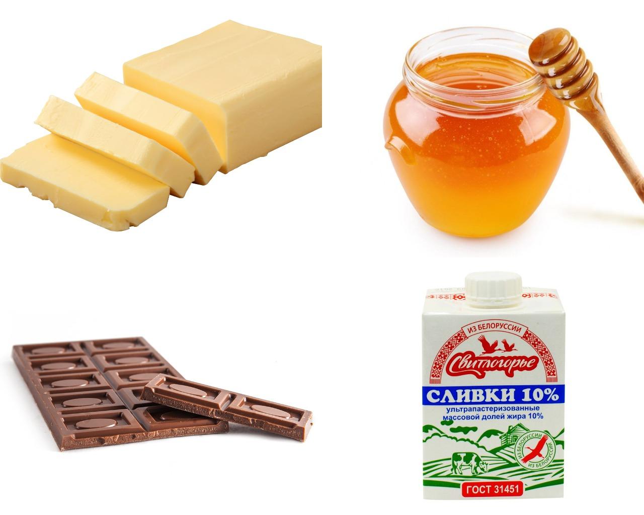 Ингредиенты для ганаша с медом