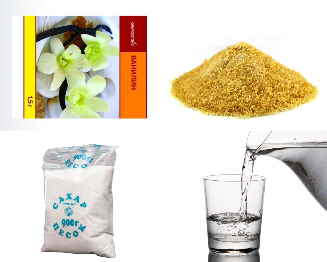 Ингредиенты для сахарной глазури с желатином