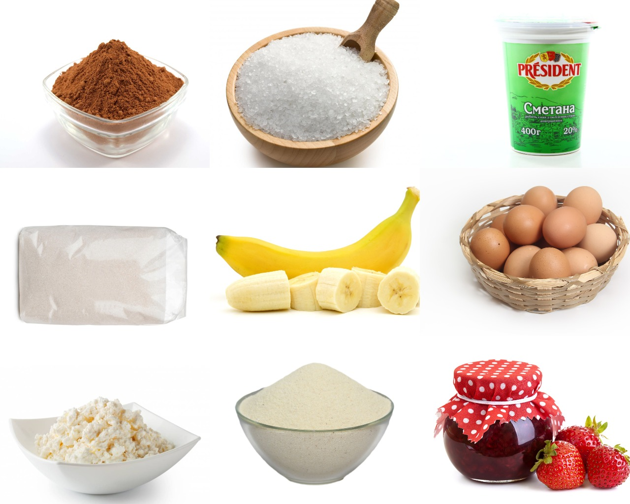Ингредиенты для шоколадного чизкейка с клубничным джемом и бананами