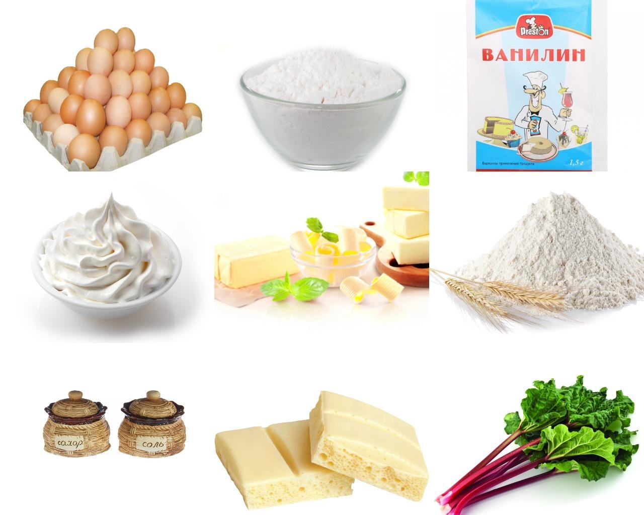 Ингредиенты для шоколадного пирога с ревенем