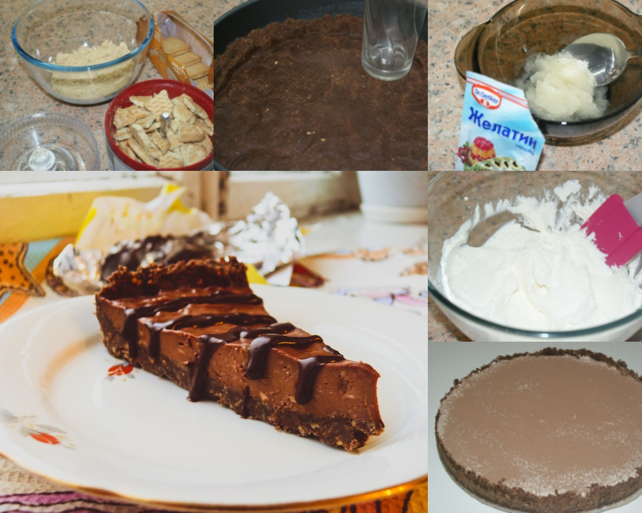Пошаговое приготовление шоколадного чизкейка без выпечки