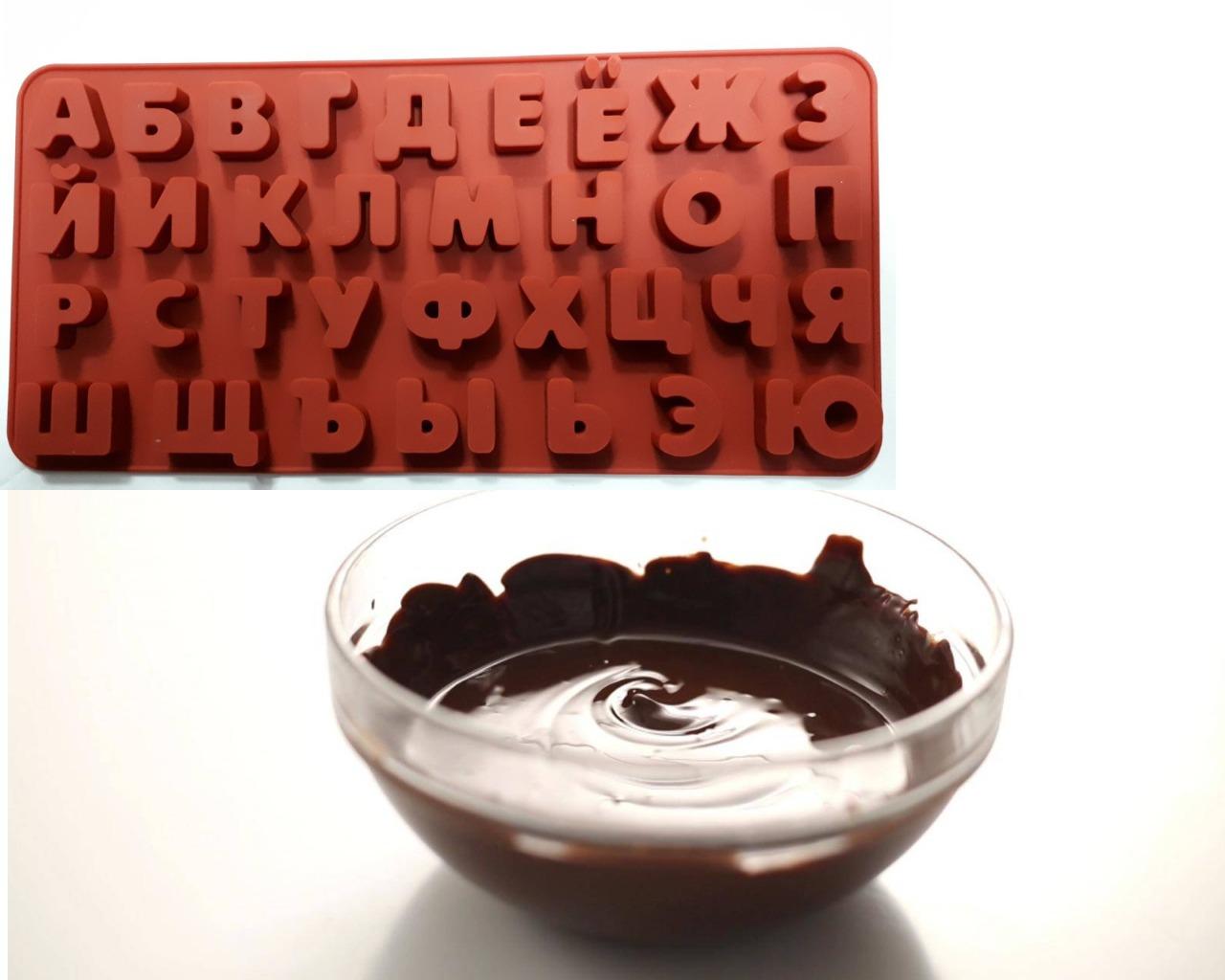Силиконовая форма и растопленный шоколад