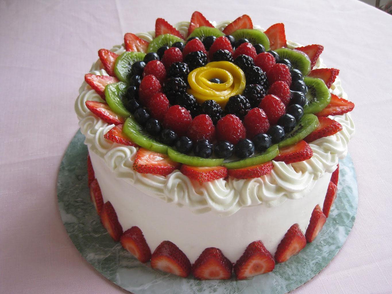 Ягоды и фрукты на торте