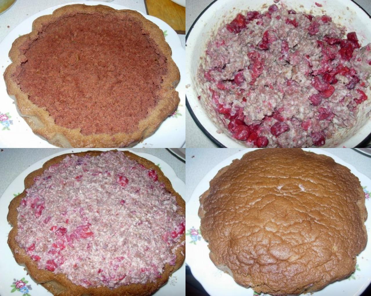 """Этапы приготовления торта """"Пьяная вишня"""""""