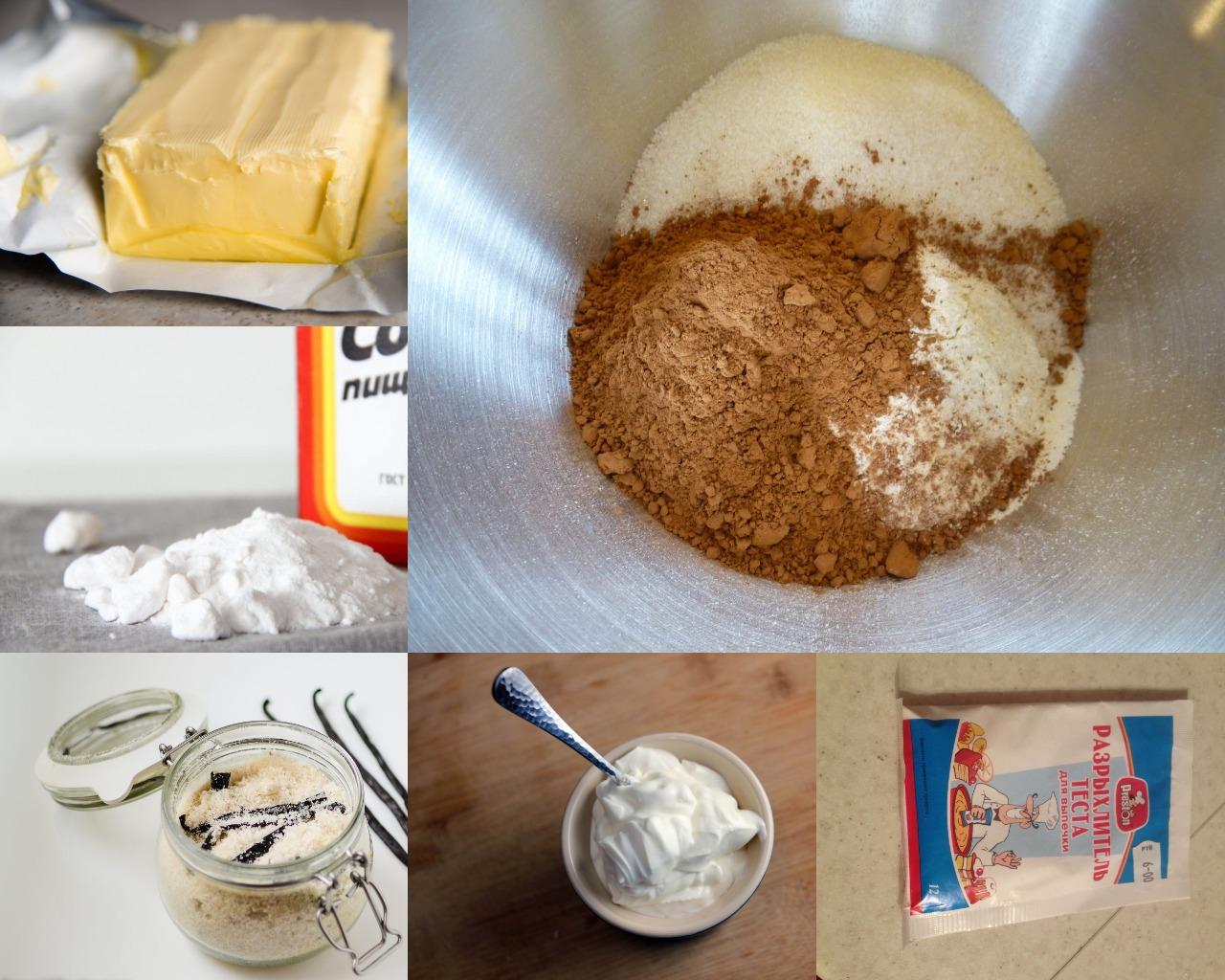 Ингредиенты для шоколадно-бананового торта