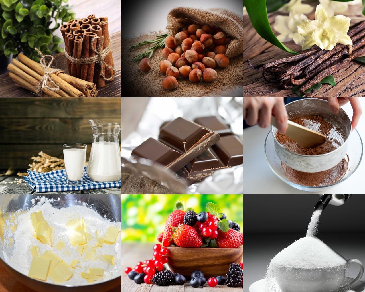 Ингредиенты для шоколадного пудинга с лесными орехами