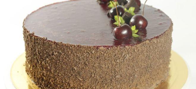 Муссовый торт с вишней и шоколадом