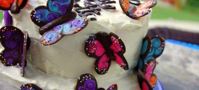 Шоколадные бабочки для торта своими руками