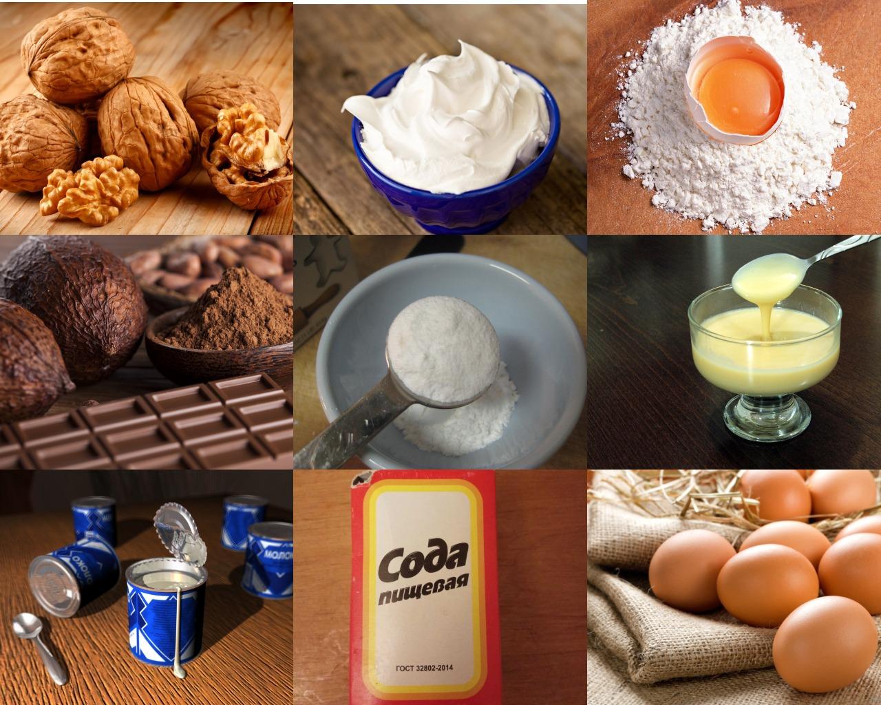 Ингредиенты для орехово-шоколадного торта