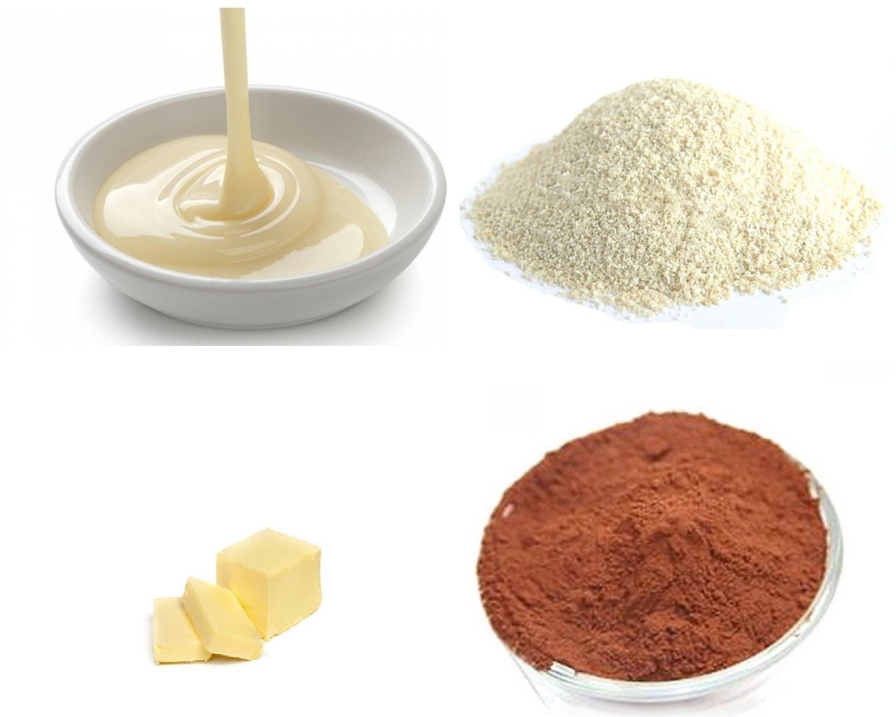 Ингредиенты для шоколадного крема со сгущенкой