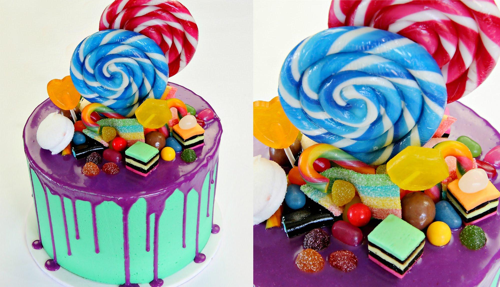 Украсить торт леденцами
