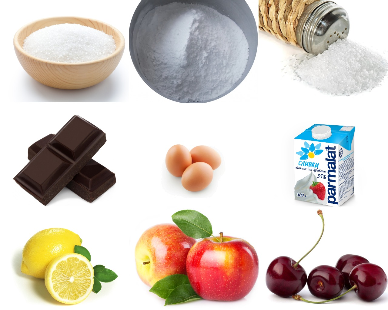 Ингредиенты для фруктового шоколадного мороженого