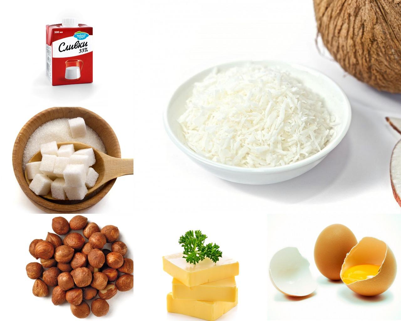 """Ингредиенты для орехового крема """"Баунти"""""""