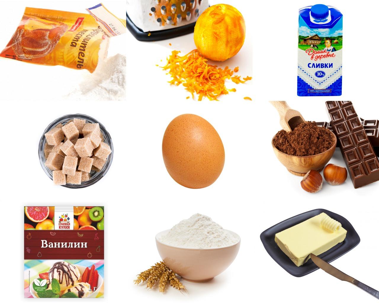 Ингредиенты для шоколадно-апельсинового кекса