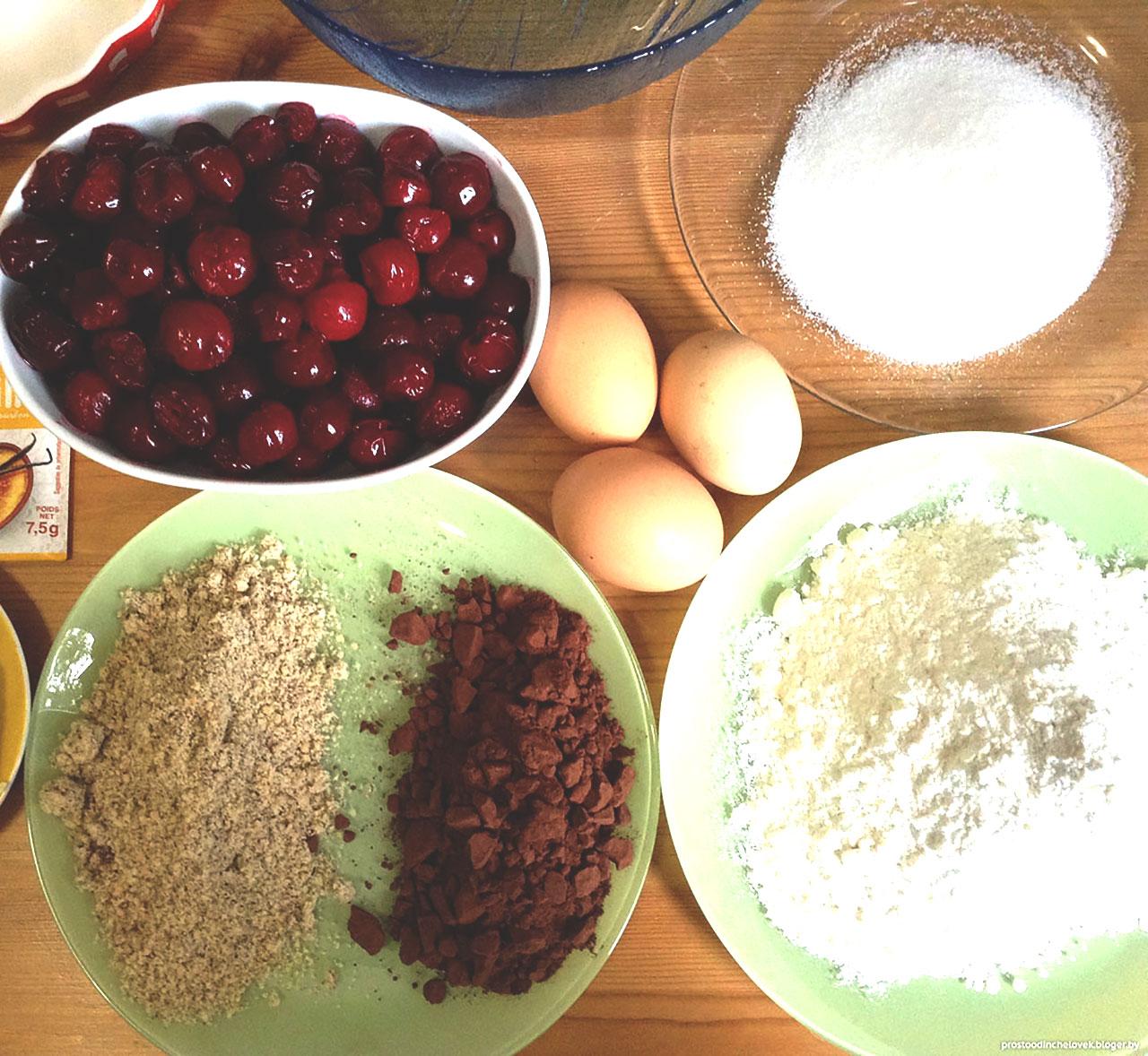 Ингредиенты для шоколадного бисквита с вишней и орехами