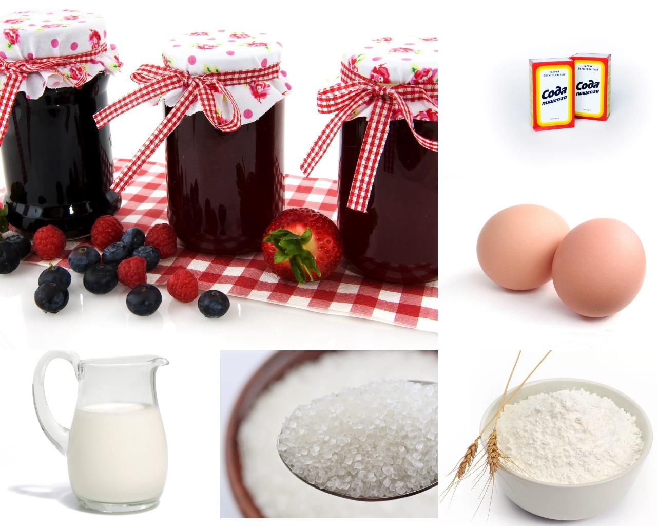 Ингредиенты для сметанника с какао и ягодным вареньем