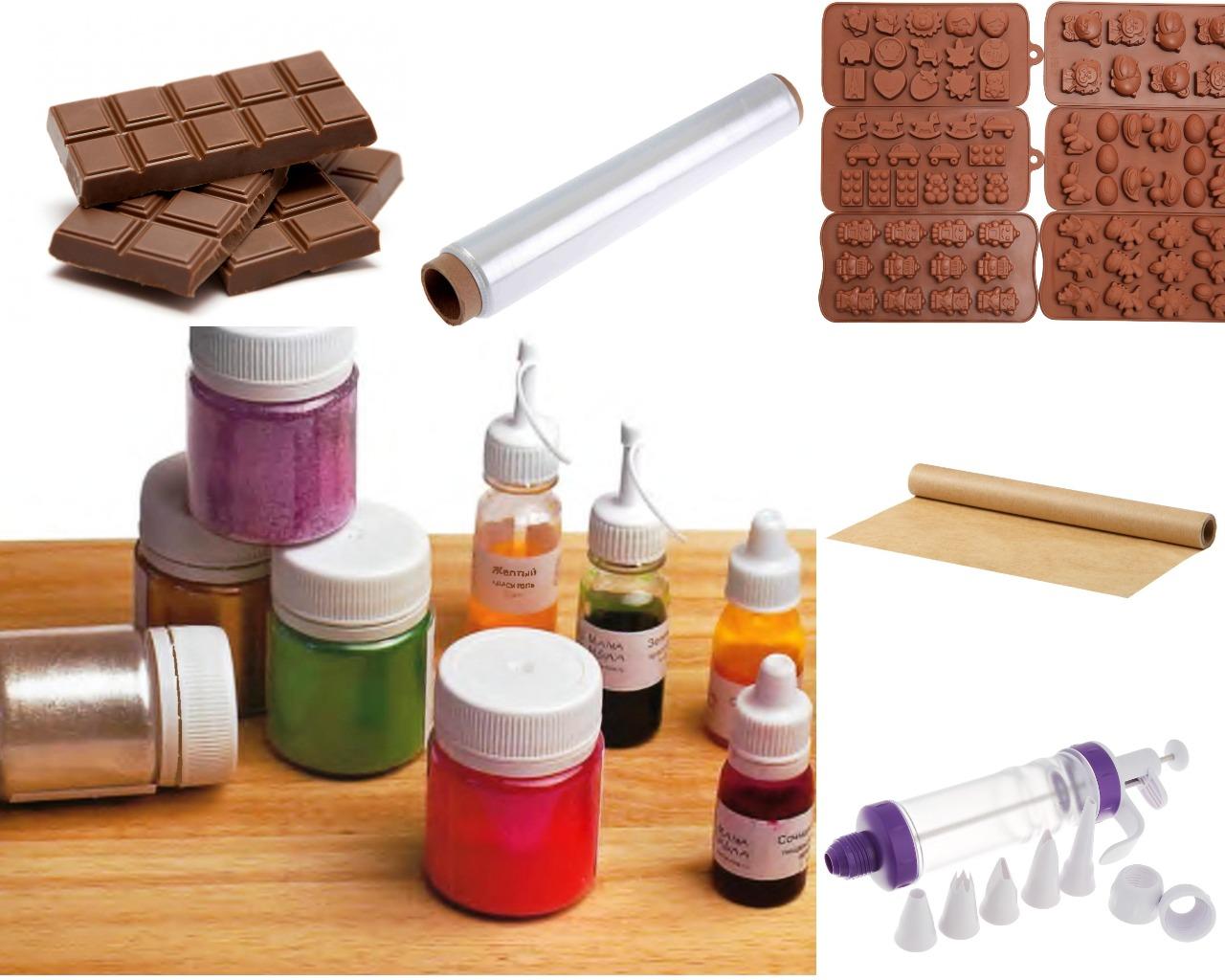 Ингредиенты и инструменты для шоколадных фигурок