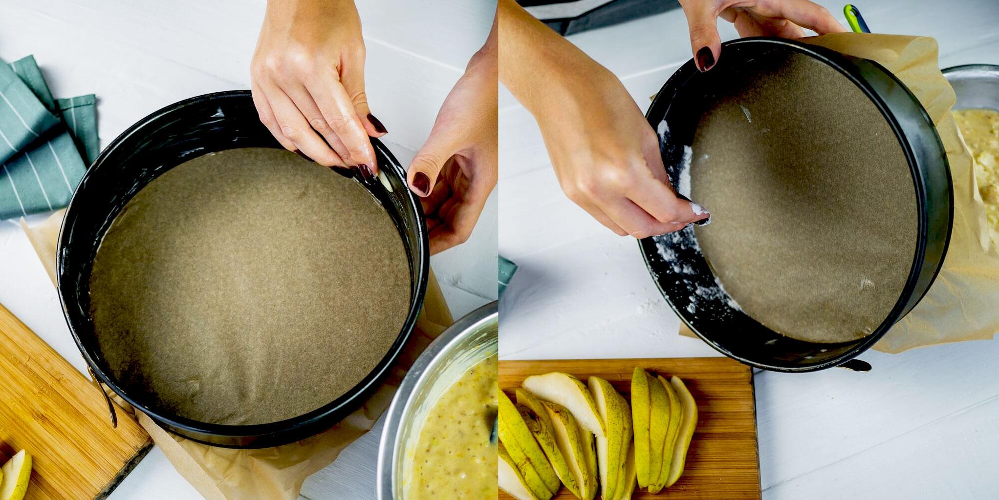 Застелить форму пергаментом и смазать маслом перед выпечкой