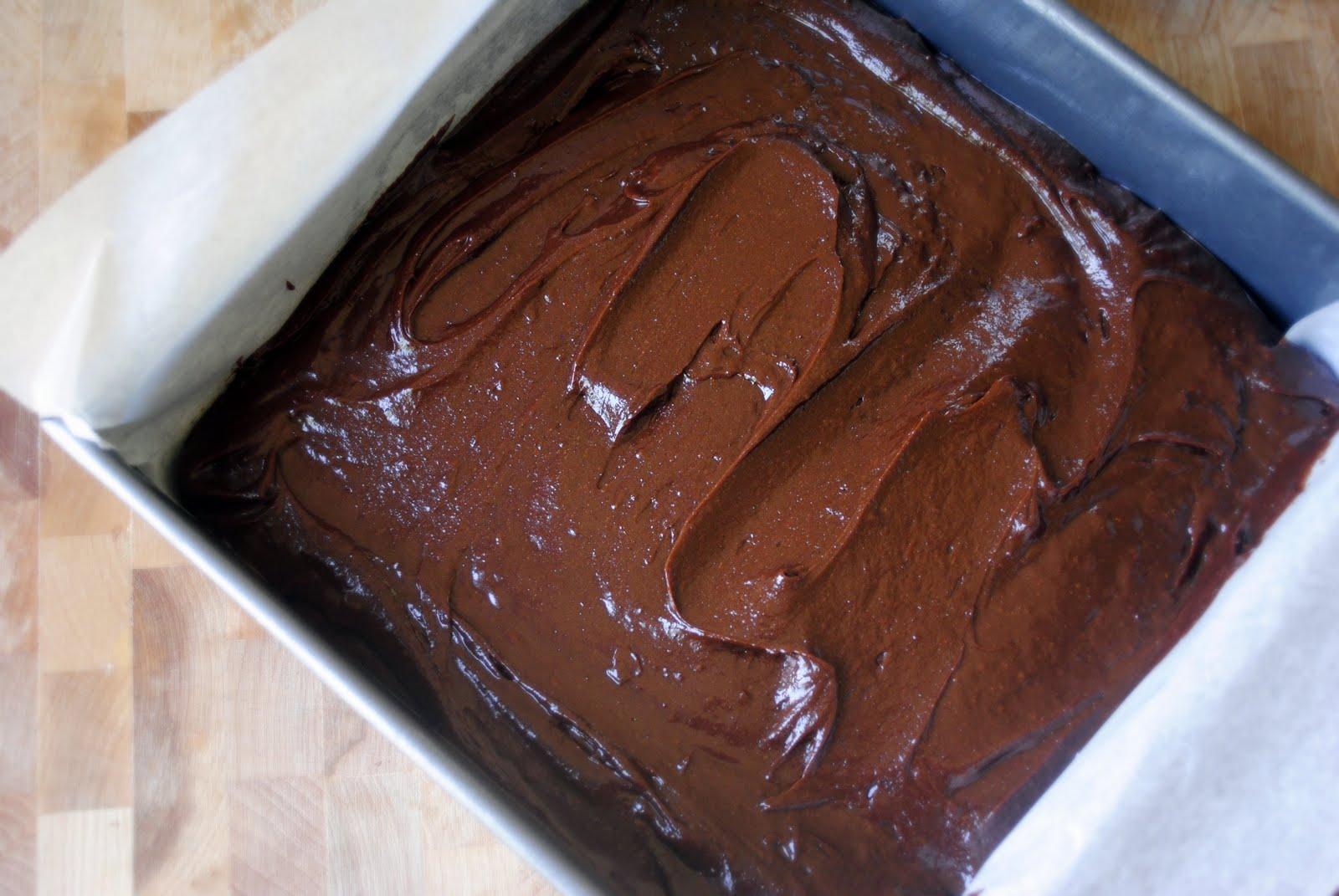 Шоколадное тесто в форме, застеленной пергаментом