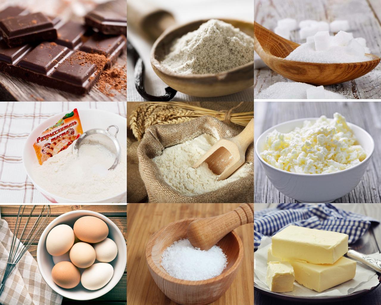 Ингредиенты для шоколадно-творожного мраморного пирога