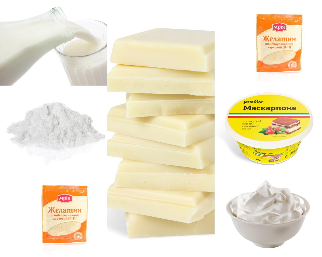 Ингредиенты для шоколадного крема с маскарпоне и желатином
