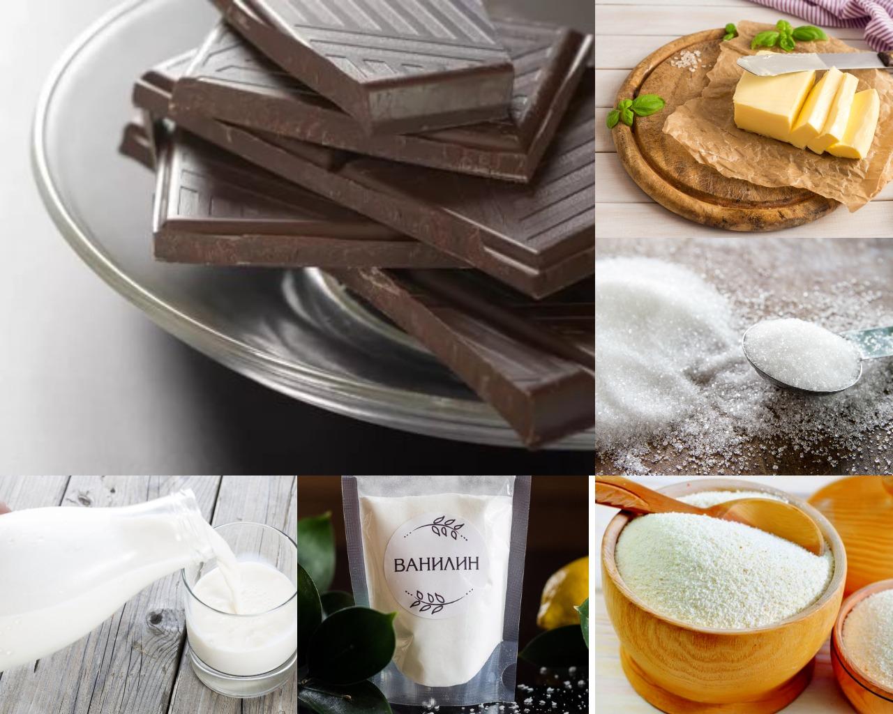 Ингредиенты для шоколадного пудинга