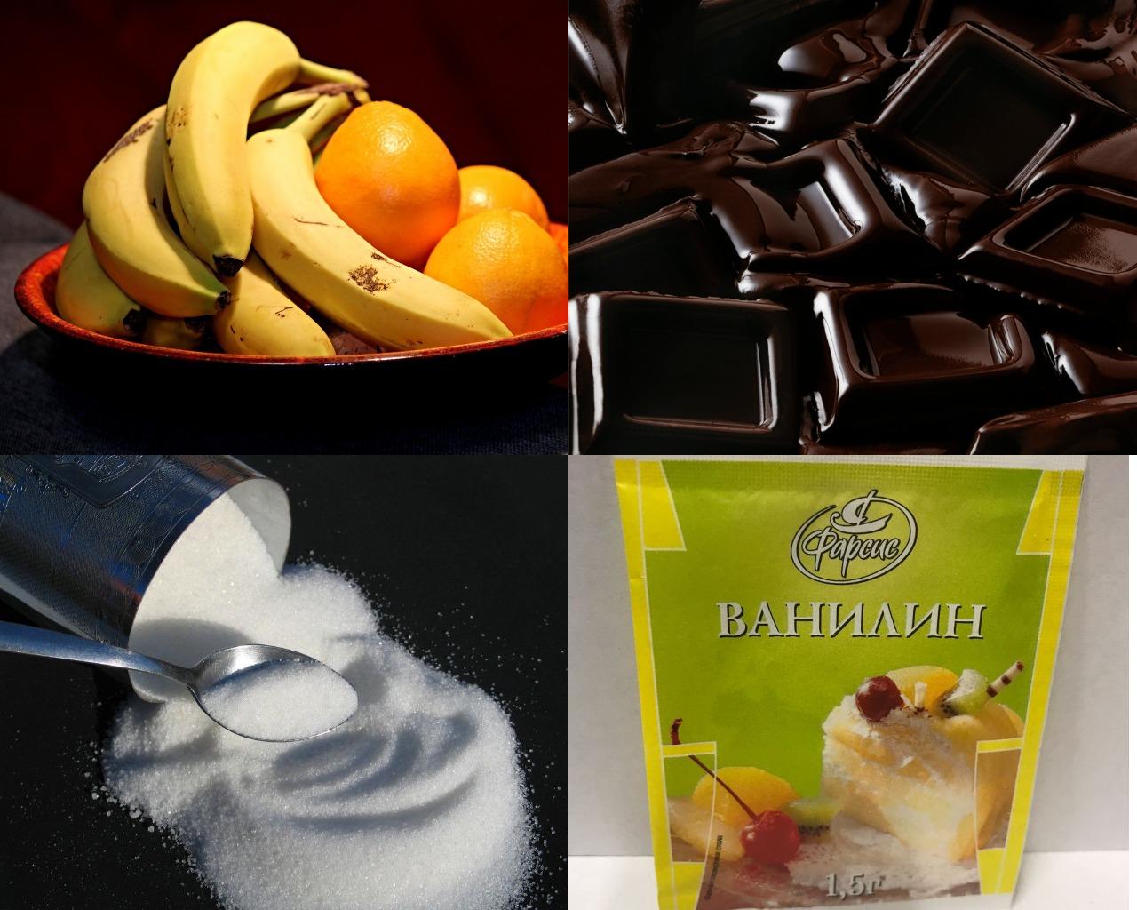 Ингредиенты для бананово-шоколадной пасты